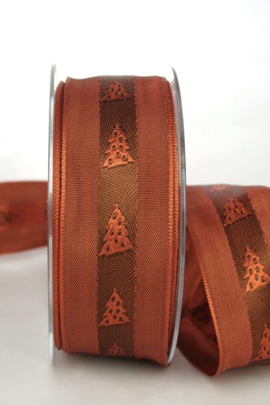 Ausgefallenes Geschenkband für Weihnachten, terra/braun mit Tannenbäumen, 40 mm breit - sonderangebot, geschenkband-weihnachten