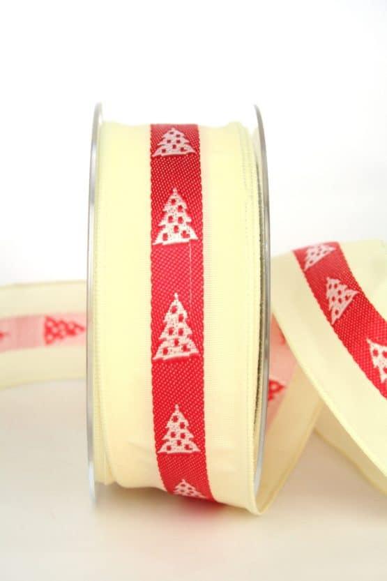 Ausgefallenes Geschenkband für Weihnachten, creme/rot/weiß mit Tannenbäumen, 40 mm breit - sonderangebot, geschenkband-weihnachten