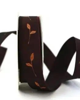 Geschenkband Zweig, dunkelrot, 25 mm breit - geschenkband-gemustert