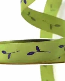 Geschenkband Zweig, grün, 25 mm breit - geschenkband-gemustert
