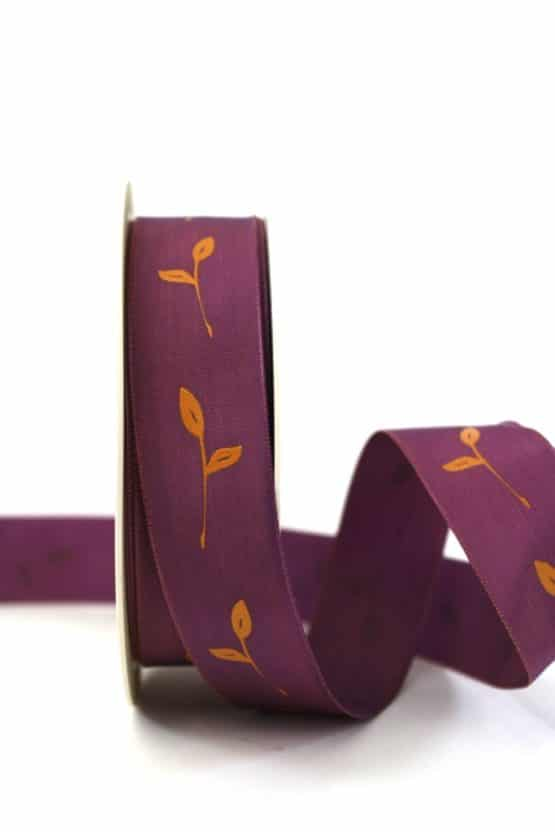 Geschenkband Zweig, lila, 25 mm breit - geschenkband-gemustert