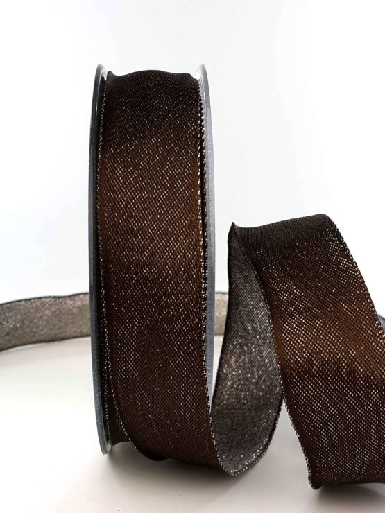 Zweiseitiges Satinband schokobraun-silber, 25 mm breit - geschenkband-weihnachten-einfarbig, geschenkband-weihnachten