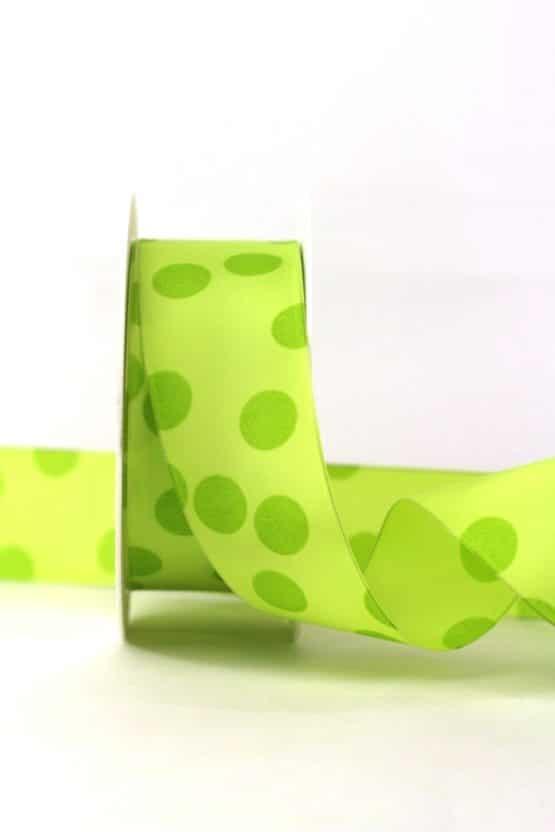 Geschenkband mit Punkten, maigrün, 40 mm breit - geschenkband-gemustert
