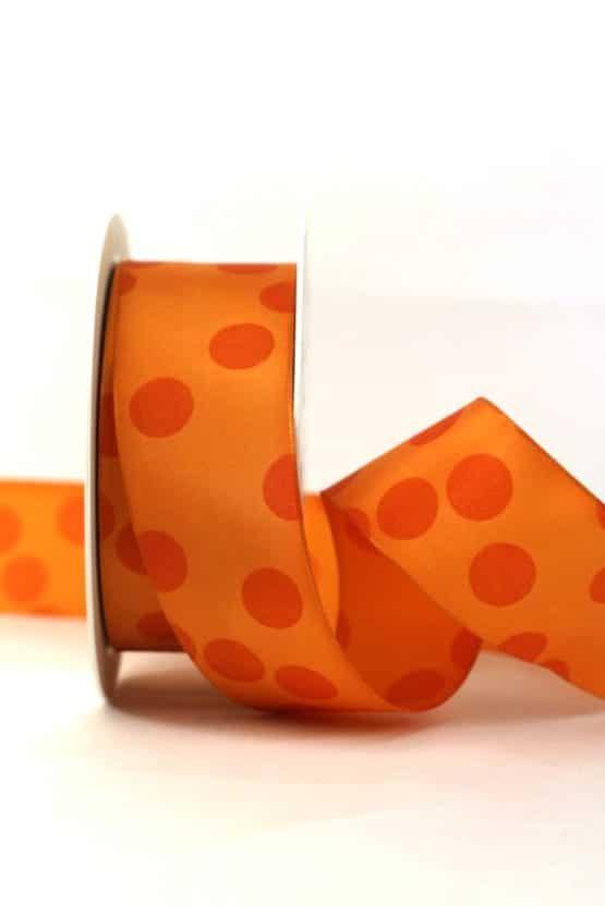 Geschenkband mit Punkten, orange, 40 mm breit - geschenkband-gemustert