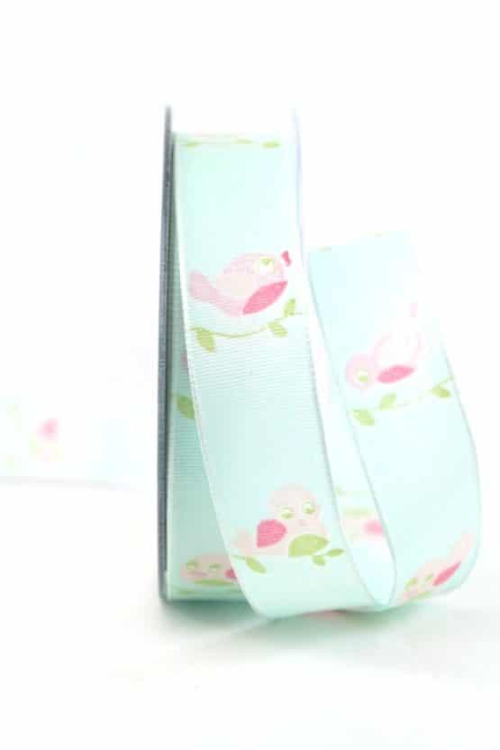 Romantisches Geschenkband Vögel, mint, 25 mm breit - geschenkband-gemustert