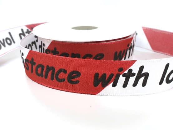 """Geschenkband """"from distance with love"""", 25 mm breit - geschenkband, geschenkband-weihnachten, geschenkband-gemustert"""
