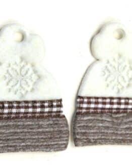 Geschenkanhänger Mütze braun-weiß, aus Stoff, 20 Stück Beutel - geschenkanhaenger, accessoires