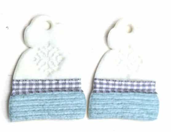 Geschenkanhänger Mütze türkis-weiß, aus Stoff, 20 Stück Beutel - geschenkanhaenger, accessoires