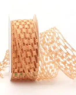 Gitterband lachs, 40 mm breit - sonderangebot, gitterband, dekoband-mit-drahtkante, 50-rabatt