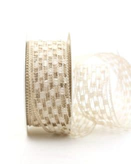 Gitterband creme, 40 mm breit - sonderangebot, gitterband, dekoband-mit-drahtkante, 50-rabatt
