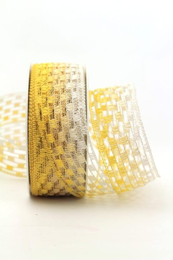 Gitterband mehrfarbig gelb, 40 mm breit - sonderangebot, gitterband, dekoband-mit-drahtkante, 30-rabatt