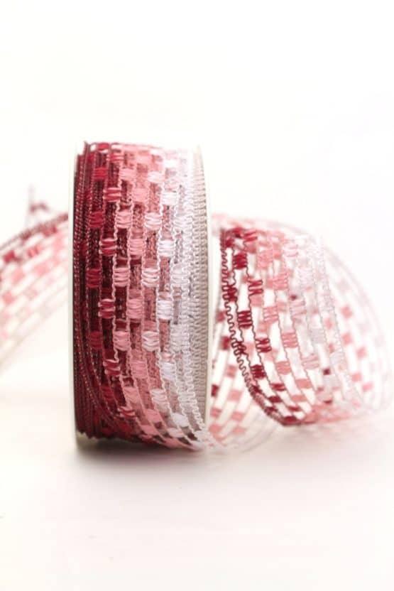 Gitterband mehrfarbig rot-rosa, 40 mm breit - sonderangebot, gitterband, dekoband-mit-drahtkante, 30-rabatt