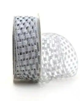 Gitterband silbergrau, 40 mm breit - sonderangebot, gitterband, dekoband-mit-drahtkante, 50-rabatt