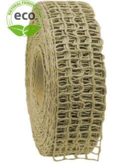 Leinen-Gitterband, creme, 40 mm breit, ECO - kompostierbare-geschenkbaender, eco-baender, gitterband, geschenkband, dekoband