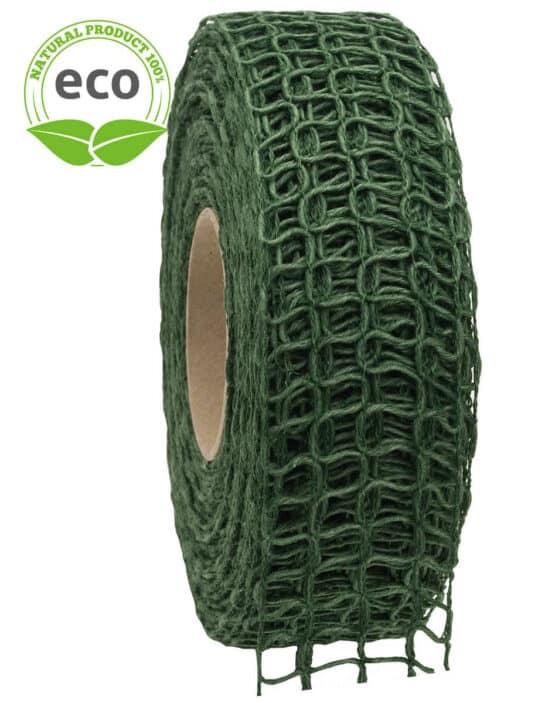 Leinen-Gitterband, dunkelgrün, 40 mm breit, ECO - kompostierbare-geschenkbaender, gitterband, geschenkband, eco-baender, dekoband