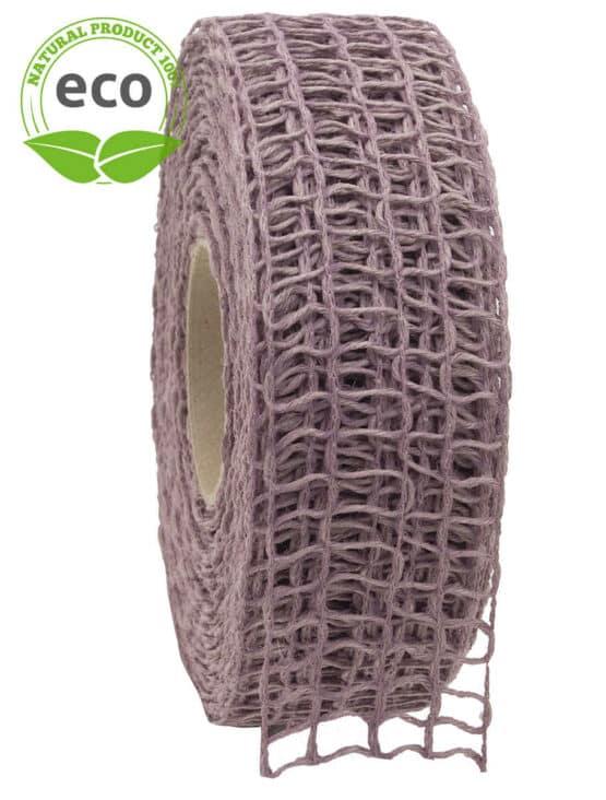 Leinen-Gitterband, flieder, 40 mm breit, ECO - kompostierbare-geschenkbaender, gitterband, geschenkband, eco-baender, dekoband