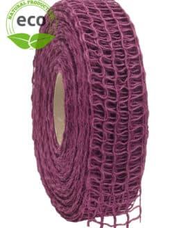 Leinen-Gitterband, lila, 40 mm breit, ECO - kompostierbare-geschenkbaender, gitterband, geschenkband, eco-baender, dekoband