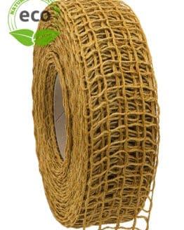 Leinen-Gitterband, gelb, 40 mm breit, ECO - kompostierbare-geschenkbaender, gitterband, geschenkband, eco-baender, dekoband