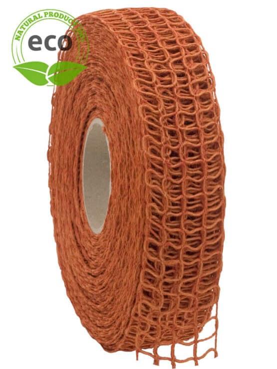 Leinen-Gitterband, orange, 40 mm breit, ECO - kompostierbare-geschenkbaender, gitterband, geschenkband, eco-baender, dekoband