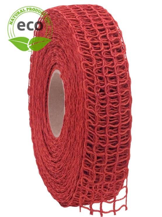 Leinen-Gitterband, rot, 40 mm breit, ECO - kompostierbare-geschenkbaender, gitterband, geschenkband, eco-baender, dekoband