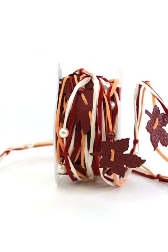 Herbstgirlande, rot-orange, 40 mm breit - geschenkband, dekoband