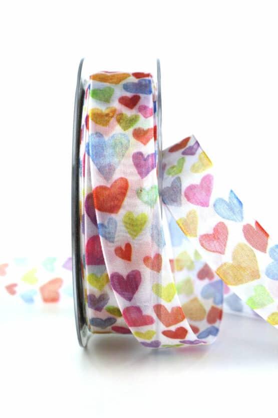 Organzaband mit bunten Herzen, 25 mm breit - valentinstag, organzaband, organzaband-gemustert, muttertag, geschenkband, geschenkband-mit-herzen, geschenkband-gemustert, geschenkband-fuer-anlaesse, anlasse