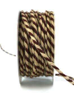 Jutekordel, 2-farbig bordeaux-braun, 4 mm stark - andere-baender, kordeln