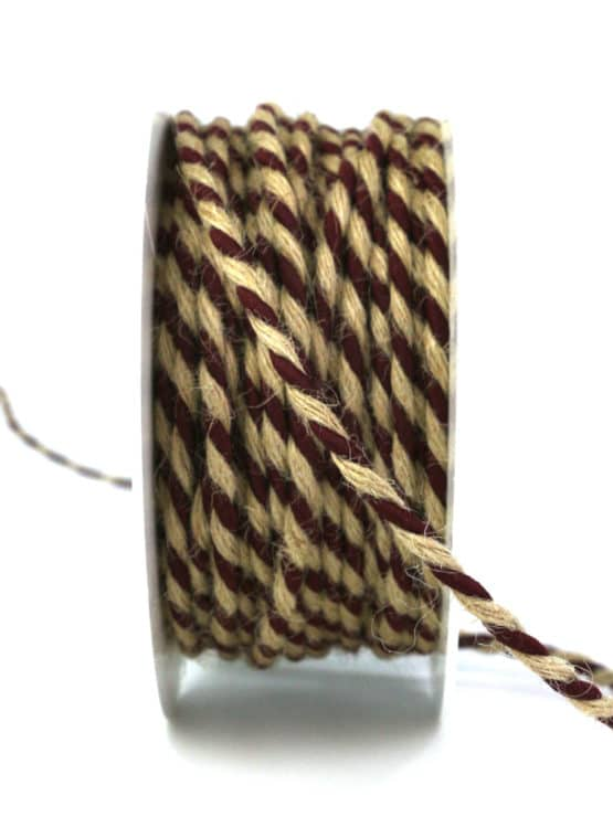 Jutekordel, 2-farbig bordeaux-braun, 4 mm stark - kordeln, andere-baender