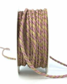 Jutekordel, 2-farbig rosé-braun, 4 mm stark - kordeln, andere-baender