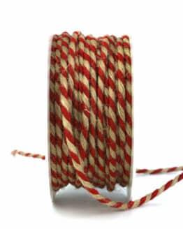 Jutekordel, 2-farbig rot-braun, 4 mm stark - kordeln, andere-baender