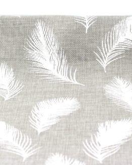 Jute-Tischläufer Federn, grau, 28 cm breit, 3 m Rolle - juteband
