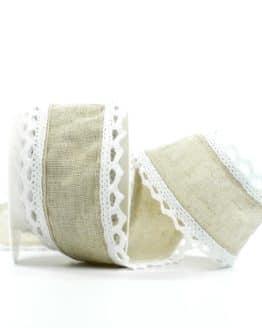Juteband mit Spitze, braun m. weiß, 50 mm breit - spitzenbaender, andere-baender, vintage-baender, hochzeit, juteband, geschenkband, geschenkband-fuer-anlaesse, anlasse