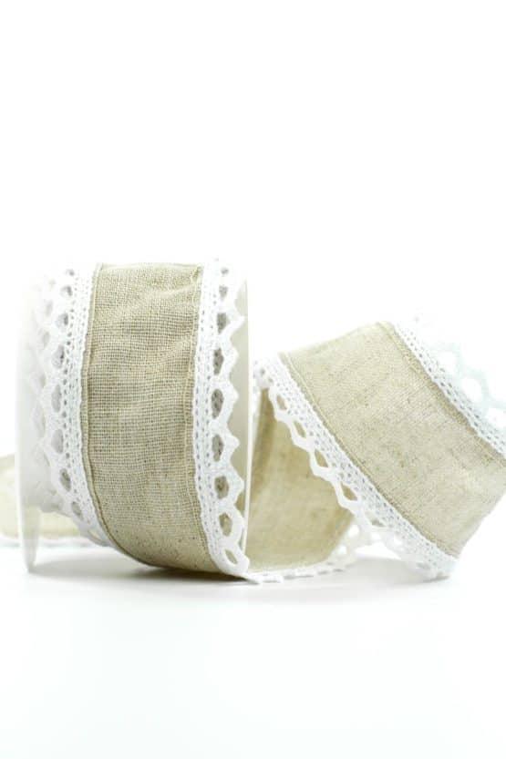 Juteband mit Spitze, braun m. weiß, 50 mm breit - vintage-baender, spitzenbaender, hochzeit, juteband, geschenkband, geschenkband-fuer-anlaesse, anlasse, andere-baender