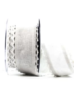 Juteband mit Spitze, weiß m. weiss, 50 mm breit - vintage-baender, spitzenbaender, hochzeit, juteband, geschenkband, geschenkband-fuer-anlaesse, anlasse, andere-baender
