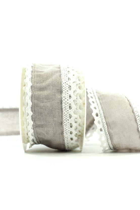 Juteband mit Spitze, grau m. weiss, 50 mm breit - vintage-baender, spitzenbaender, hochzeit, juteband, geschenkband, geschenkband-fuer-anlaesse, anlasse, andere-baender