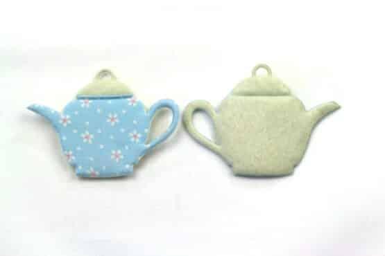 Kaffeekanne aus Filz, hellblau, ca. 52 mm, 20 Stück - geschenkanhaenger, accessoires
