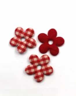 Karierte Dekoblüten, rot, 32 mm, 20 Stück - geschenkanhaenger, accessoires