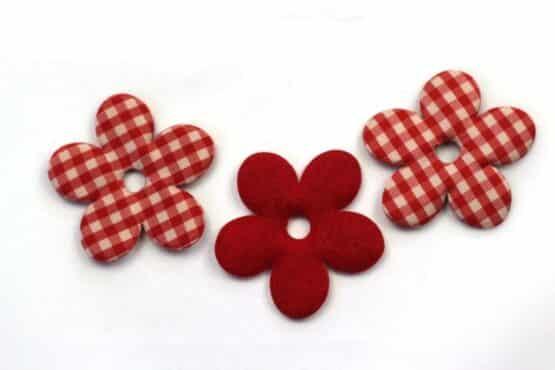 Karierte Dekoblüten, rot, 52 mm, 20 Stück - geschenkanhaenger, accessoires