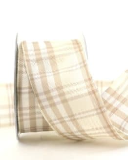 Kariertes Geschenkband creme, 60 mm breit - karoband, geschenkband-kariert