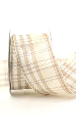 Kariertes Geschenkband creme 60mm (407706010220)