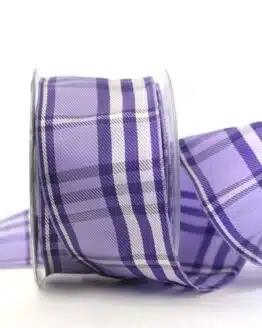 Kariertes Geschenkband flieder-lila, 60 mm breit - karoband, geschenkband-kariert