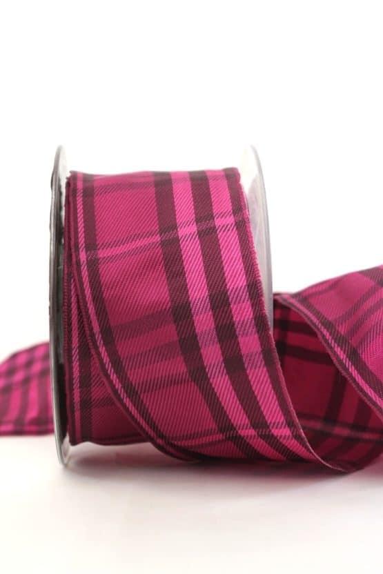 Kariertes Geschenkband pink-lila, 60 mm breit - karoband, geschenkband-kariert