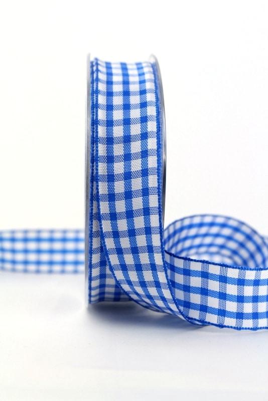 Karo-Geschenkband blau-weiß, 25 mm breit - sonderangebot, karoband, geschenkband-kariert, 50-rabatt