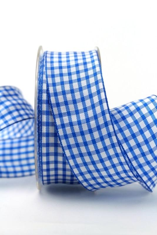 Karo-Geschenkband blau-weiß, 40 mm breit - sonderangebot, karoband, geschenkband-kariert, 50-rabatt