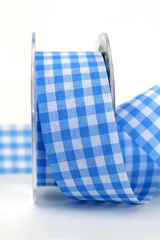 Karoband blau-weiß, 38 mm breit - sonderangebot, karoband, geschenkband-kariert, 30-rabatt