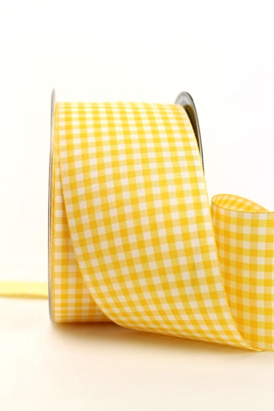 Breites Karoband gelb-weiß, 60 mm breit - sonderangebot, karoband, geschenkband-kariert, 20-rabatt