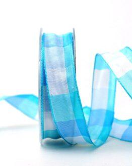 Karoband hellblau, 25 mm breit - sonderangebot, karoband, geschenkband-kariert, dekoband-mit-drahtkante, 20-rabatt
