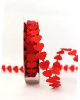 Rote Herzen-Girlande, 15 mm breit - valentinstag, hochzeit, muttertag, hochzeitsdeko, geschenkband-mit-herzen, anlasse