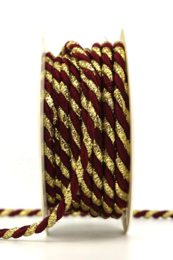 Kordel, 2-farbig bordeaux-gold, 6 mm stark - kordeln, andere-baender