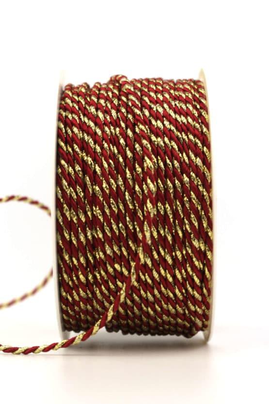 Kordel, 2-farbig bordeaux-gold, 2 mm stark - kordeln, andere-baender